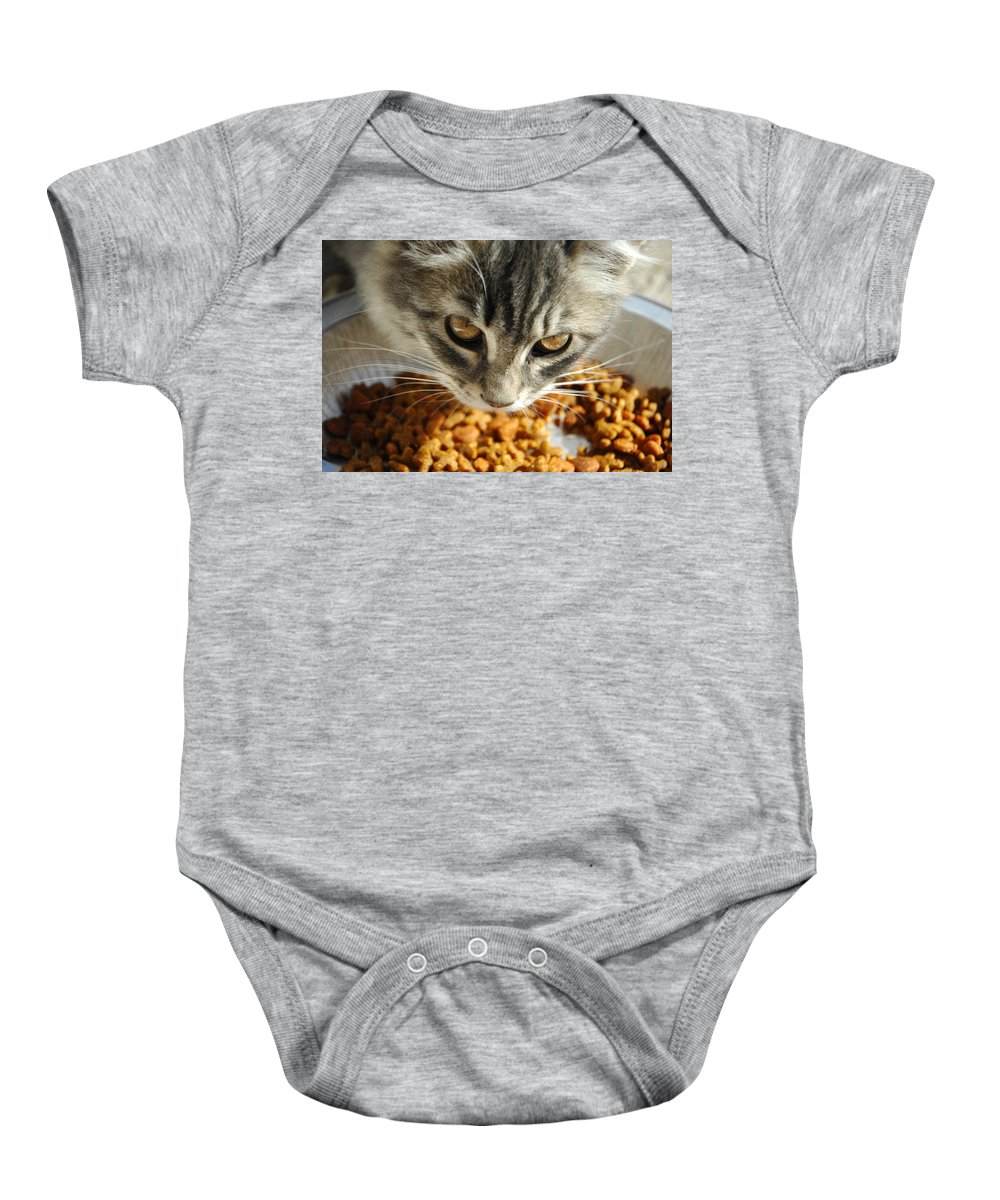 Cat Baby Onesie featuring the photograph Don't Even Think About It by Donna Blackhall