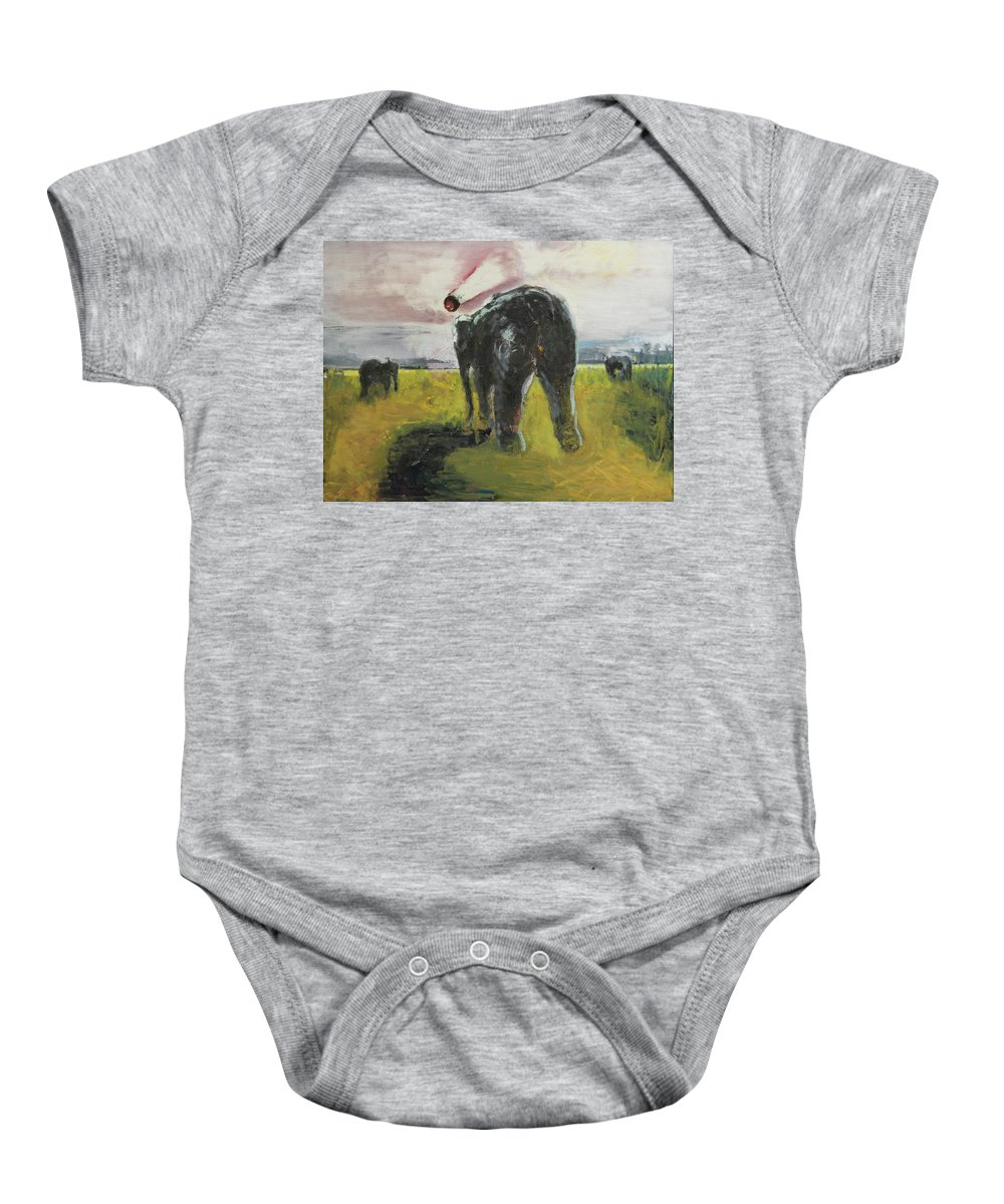 Meteor Baby Onesie featuring the painting Doomsday by Craig Newland