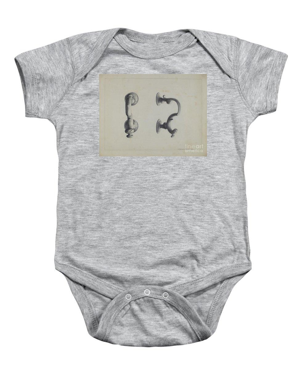 Baby Onesie featuring the drawing Door Knocker by J. Howard Iams