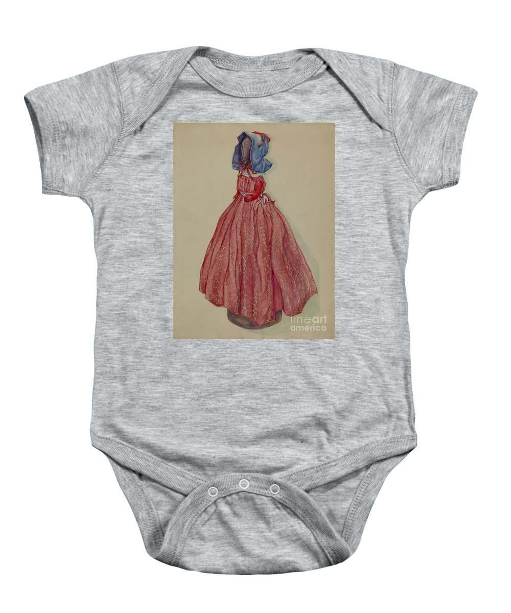Baby Onesie featuring the drawing Doorstop Doll by Rosa Burger