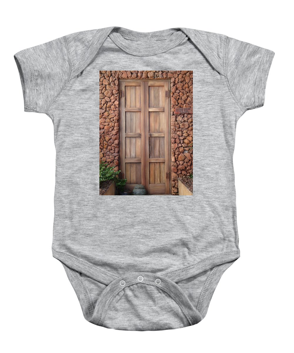 Earthtones Baby Onesie featuring the photograph Doorway Steps Back In Time by Kim Chernecky