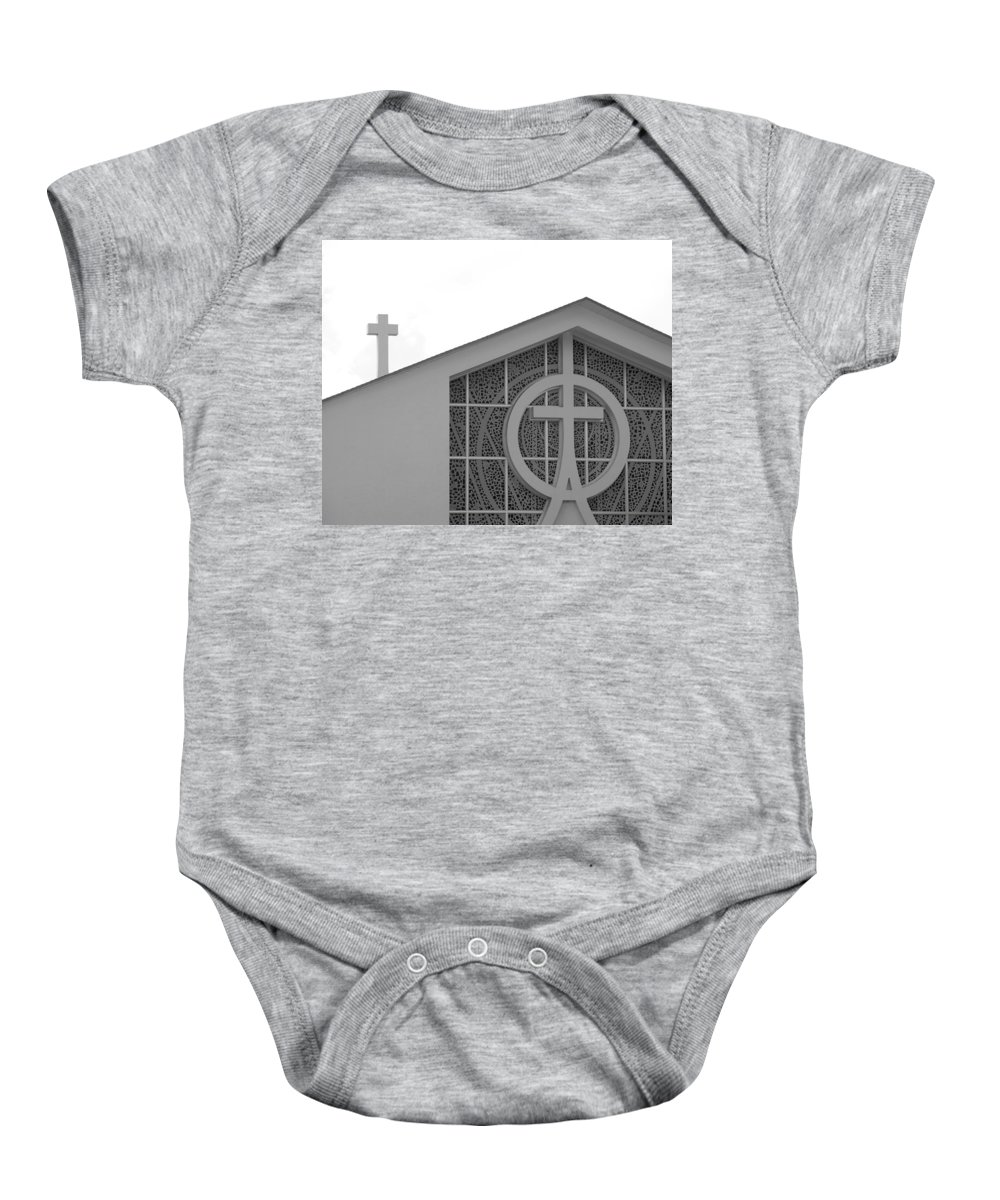 Black And White Baby Onesie featuring the photograph Double Cross Church by Rob Hans