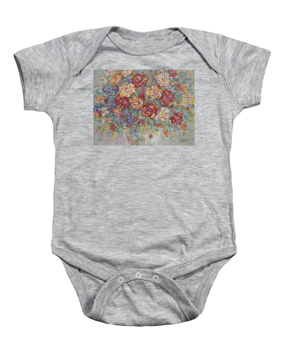 Flowers Baby Onesie featuring the painting Double Delight. by Natalie Holland