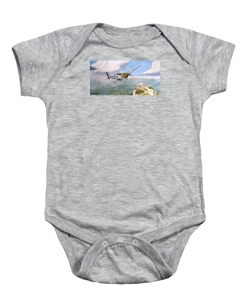 Military Baby Onesie featuring the painting Double Trouble Over The Eagle by Marc Stewart