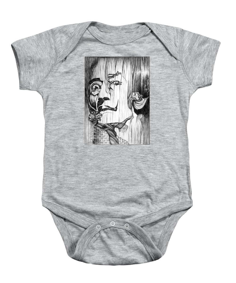 Salvador Dali Baby Onesie featuring the drawing Doubly reversible portrait of Salvador Dali by Richard Meric