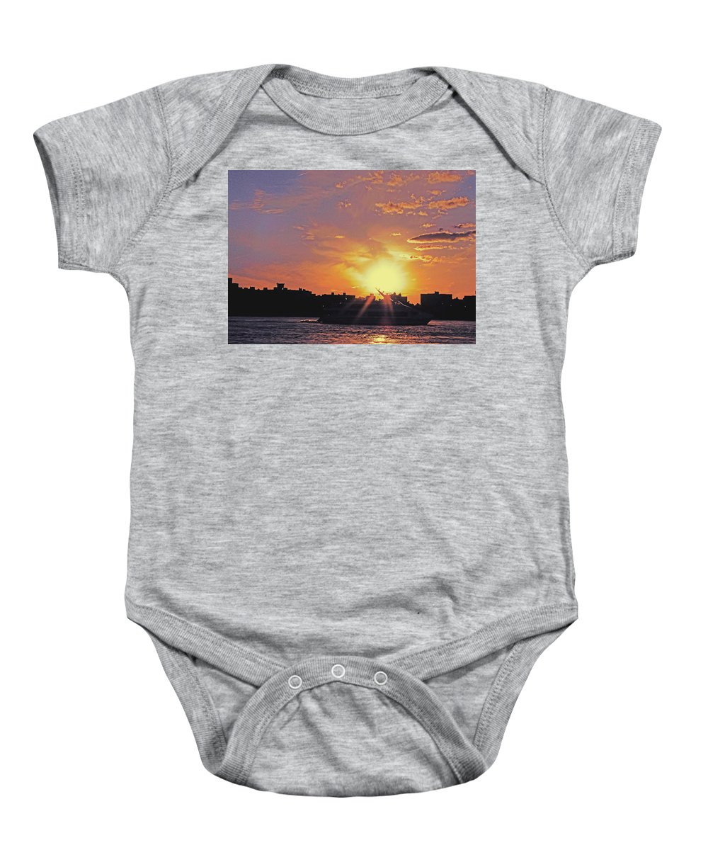 Ship Baby Onesie featuring the photograph Down The Hudson by Kendall Eutemey