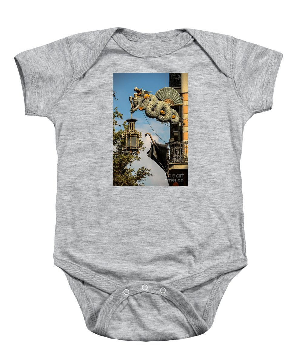 Photography Baby Onesie featuring the photograph Dragon And Umbrella Sing In Barcelona by RicardMN Photography