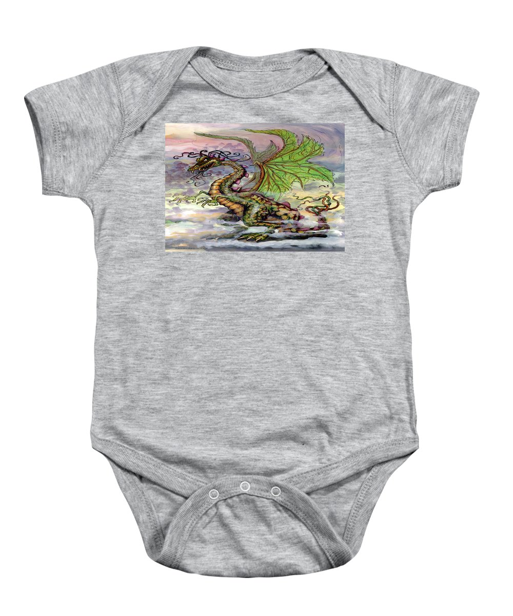 Dragon Baby Onesie featuring the painting Dragon by Kevin Middleton
