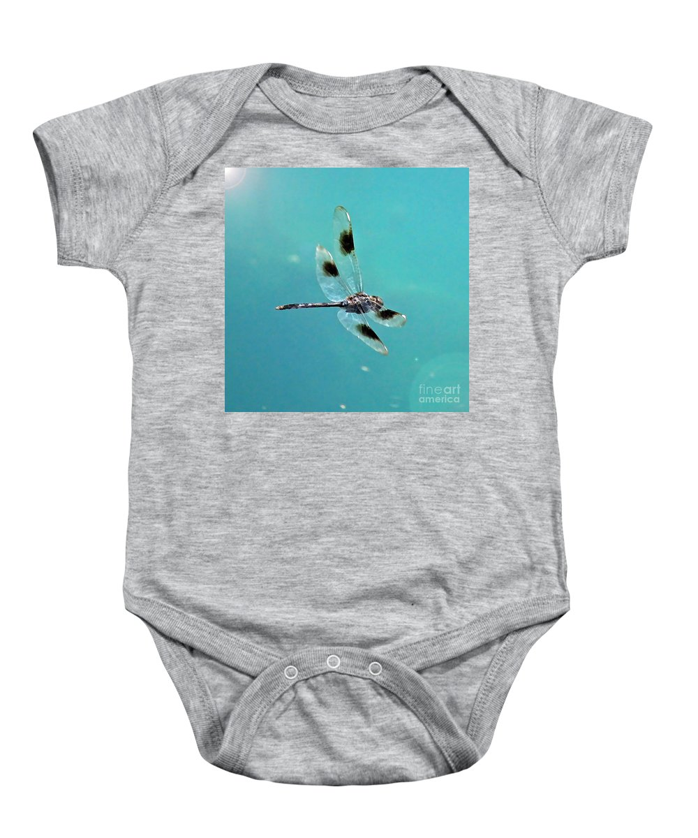 Dragonfly Baby Onesie featuring the photograph Dragonfly In Sunshine - Digital Art by Carol Groenen