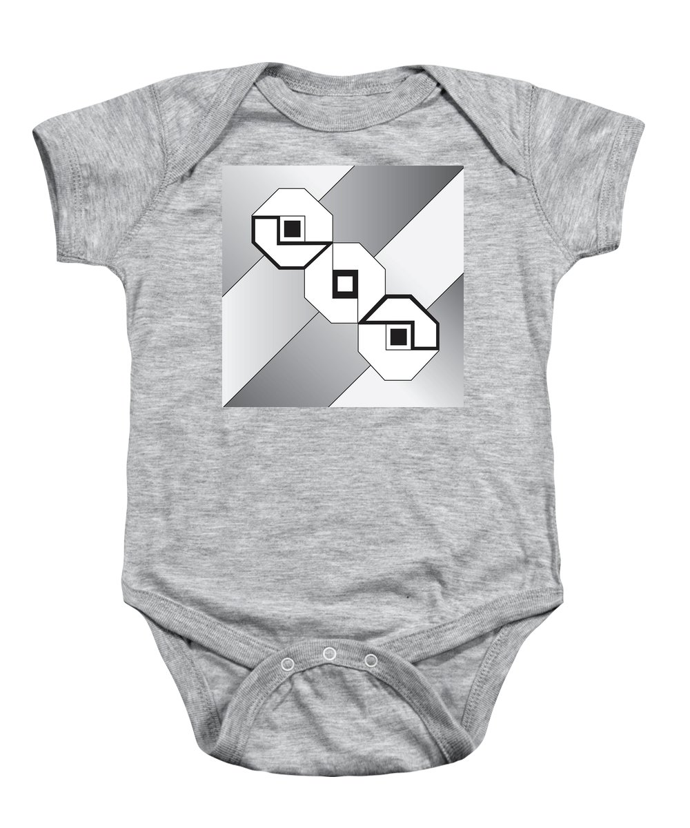 Illustration Baby Onesie featuring the drawing Drawn2shapes4bnw by Maggie Mijares