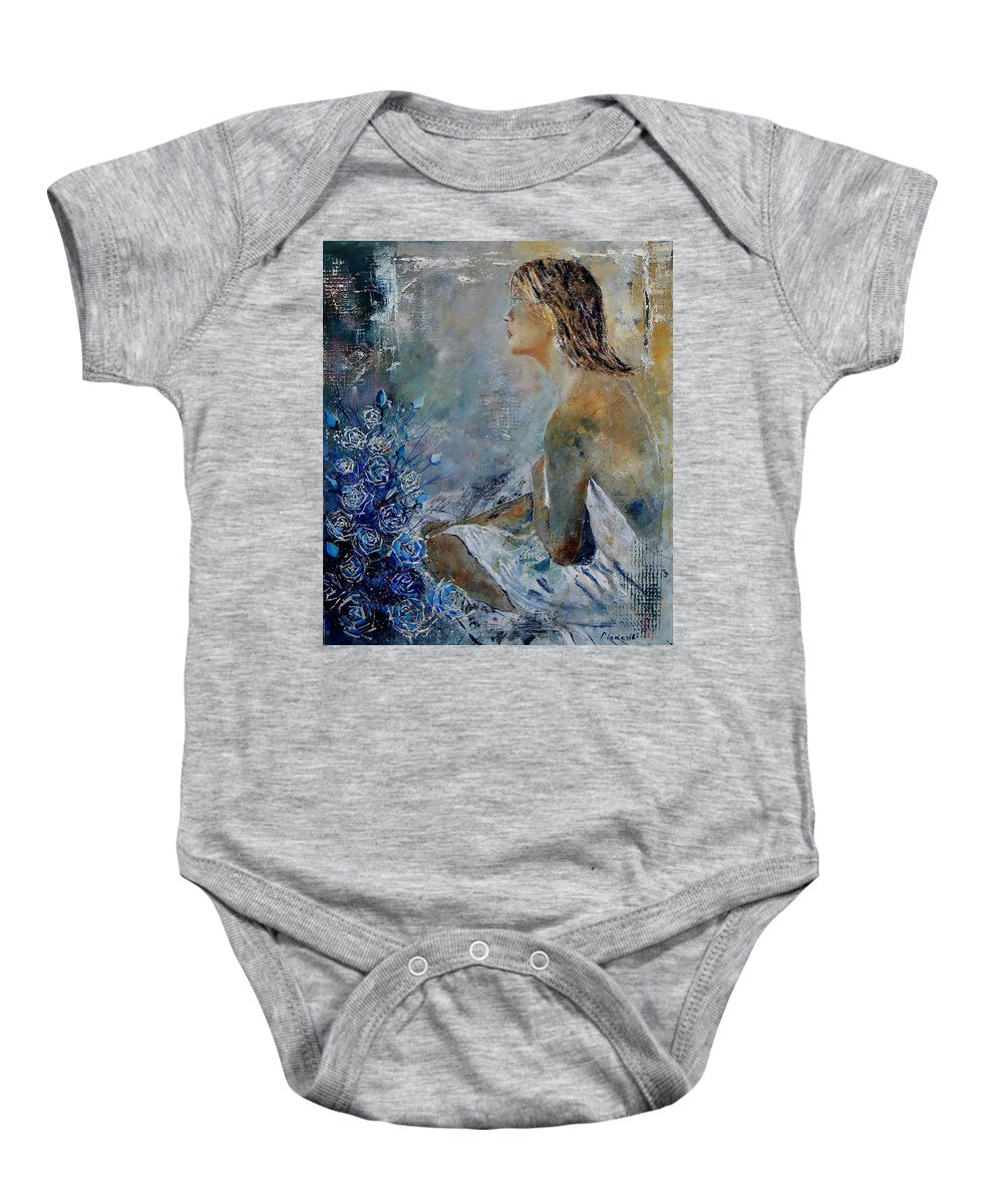 Girl Baby Onesie featuring the painting Dreaming Young Girl by Pol Ledent
