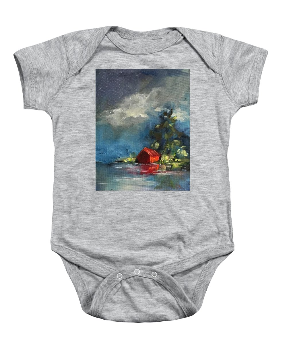 Barn Baby Onesie featuring the painting Dreams Realy Do Come True by Angela Sullivan
