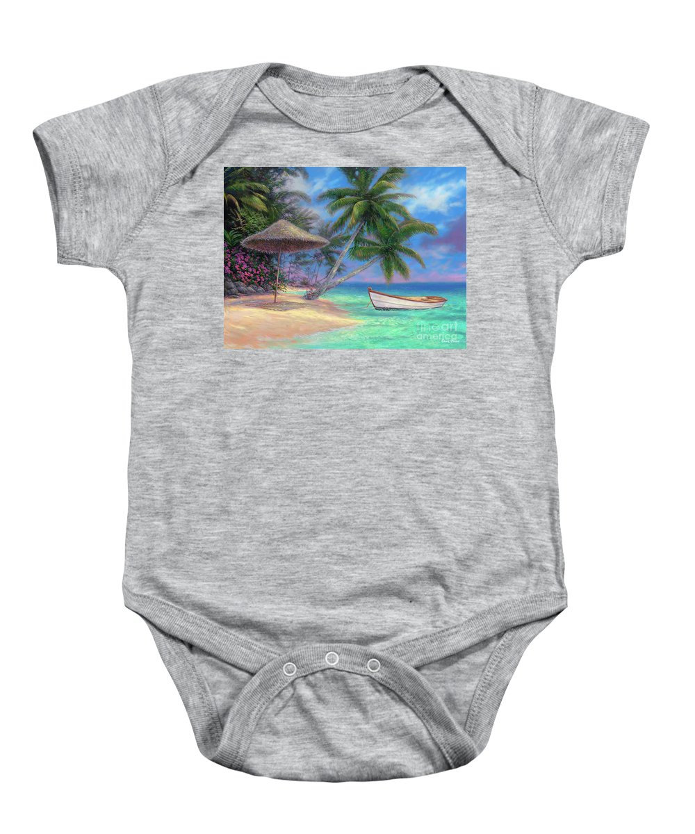 Tropical Baby Onesie featuring the painting Drift Away by Chuck Pinson
