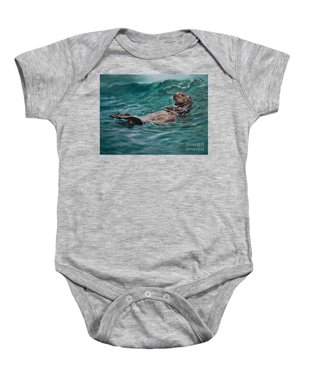 Otter Baby Onesie featuring the painting Drifter by Lachri