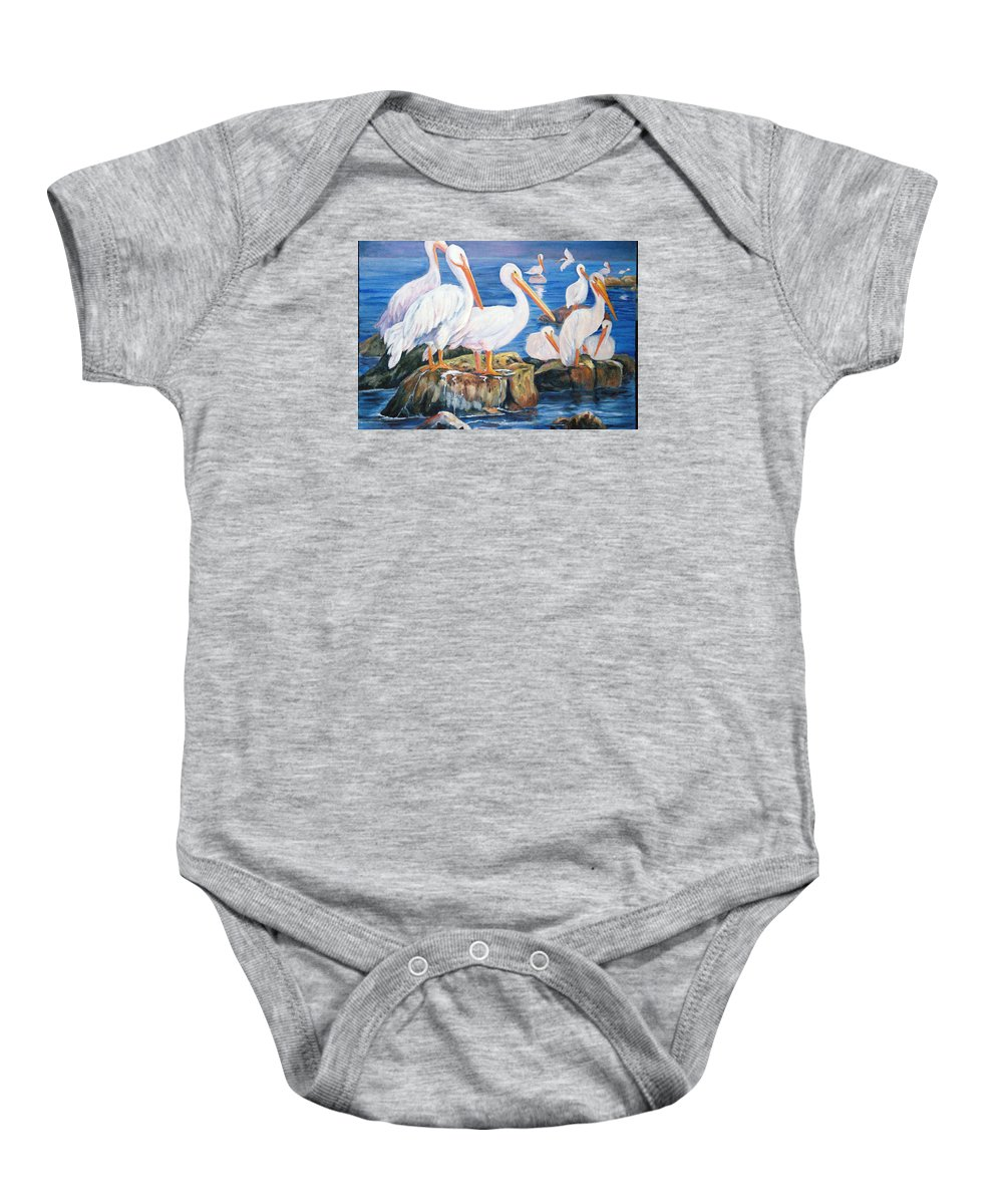 Pelicans On The Louisiana Jetties Baby Onesie featuring the painting Drippin Wet by Anne Dentler