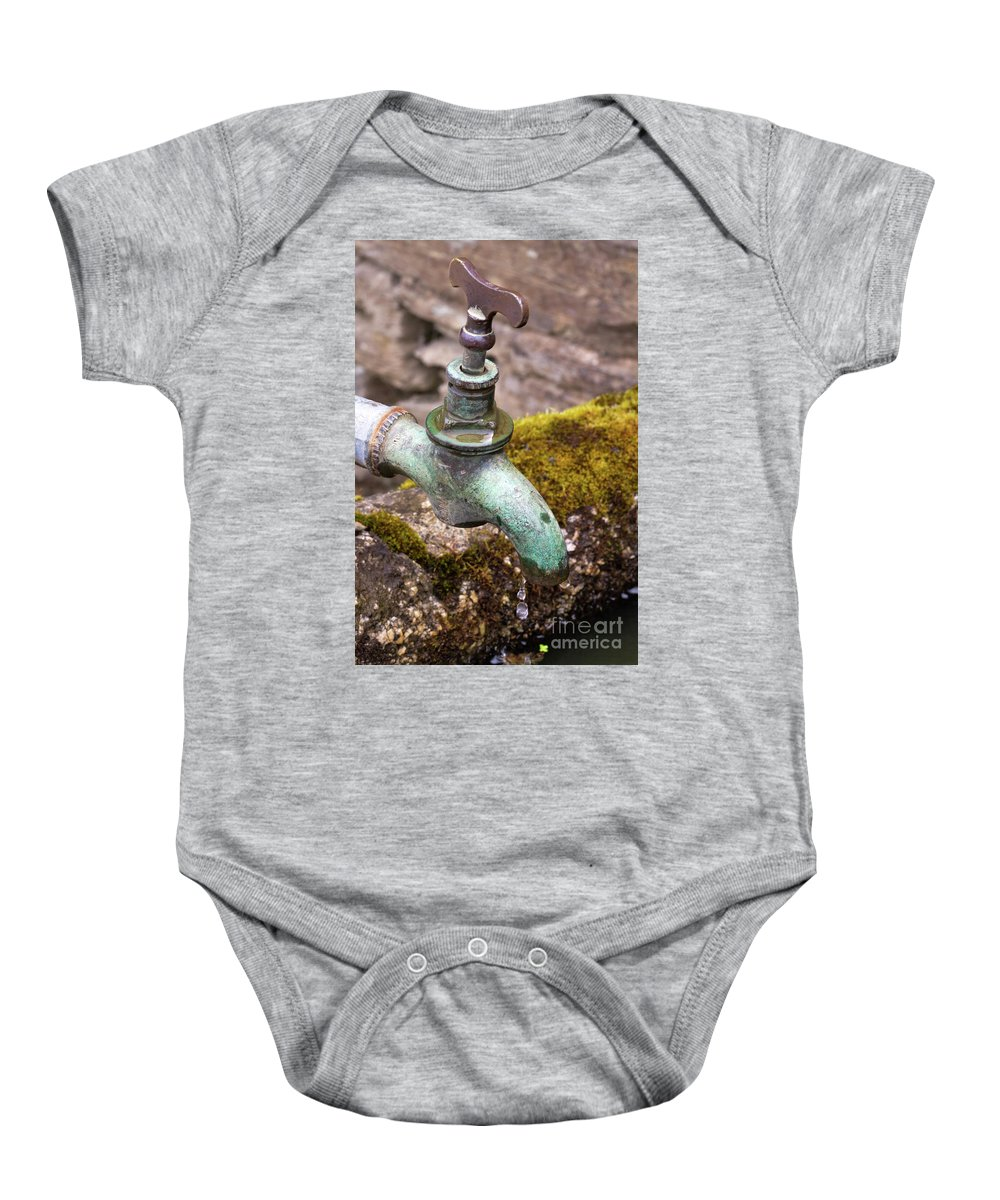 Dripping Baby Onesie featuring the photograph Dripping Tap On A Stone Trough by Louise Heusinkveld