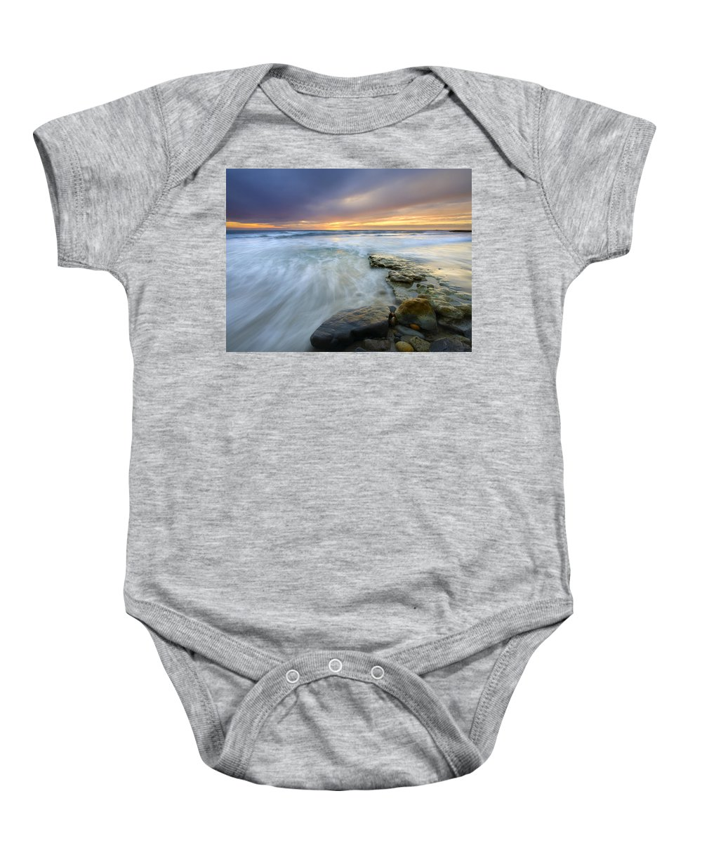 Rocks Baby Onesie featuring the photograph Driven Before The Storm by Mike Dawson