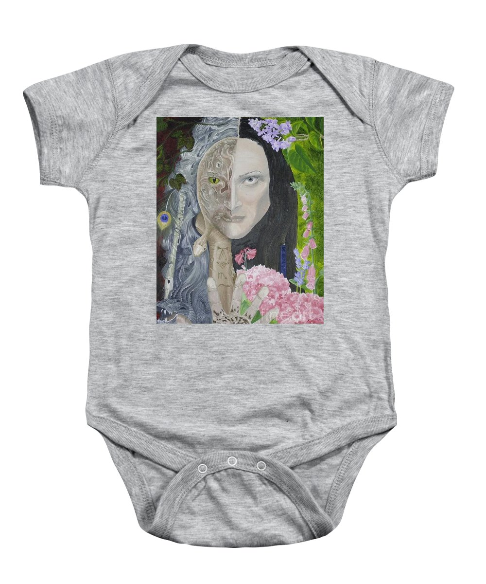 Portrait Dual Personality Flowers Hand Flute Crocodile Snake Boils Baby Onesie featuring the painting Duality Of Nature by Pauline Sharp