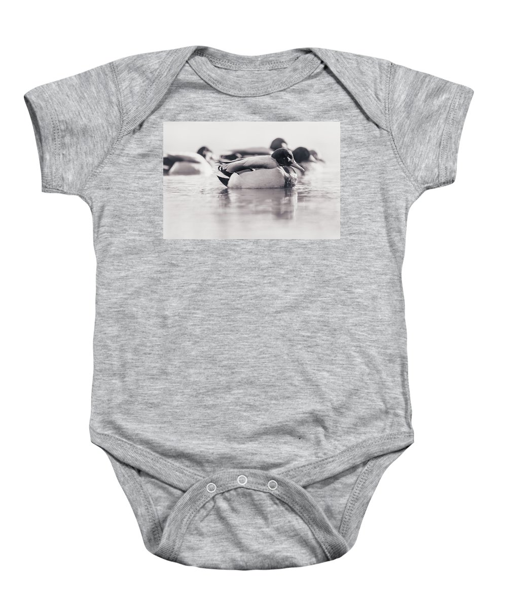 Baby Onesie featuring the photograph Duck On Water by Annette Bush