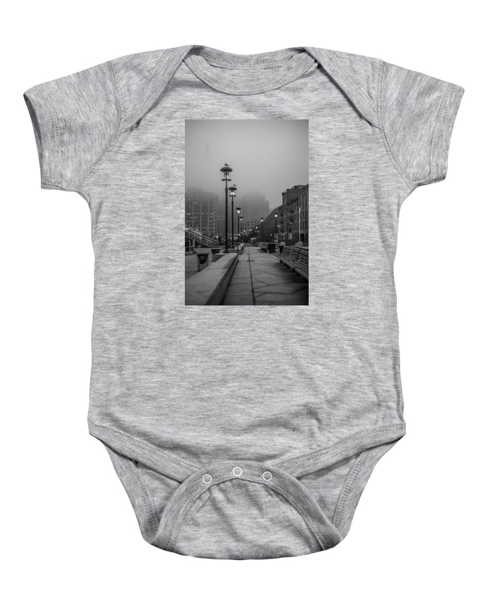 Foggy Baby Onesie featuring the photograph Fog In Boston by Sean Sweeney