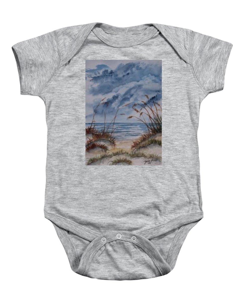 Watercolor Landscape Painting Seascape Beach Baby Onesie featuring the painting DUNES seascape fine art poster print seascape by Derek Mccrea