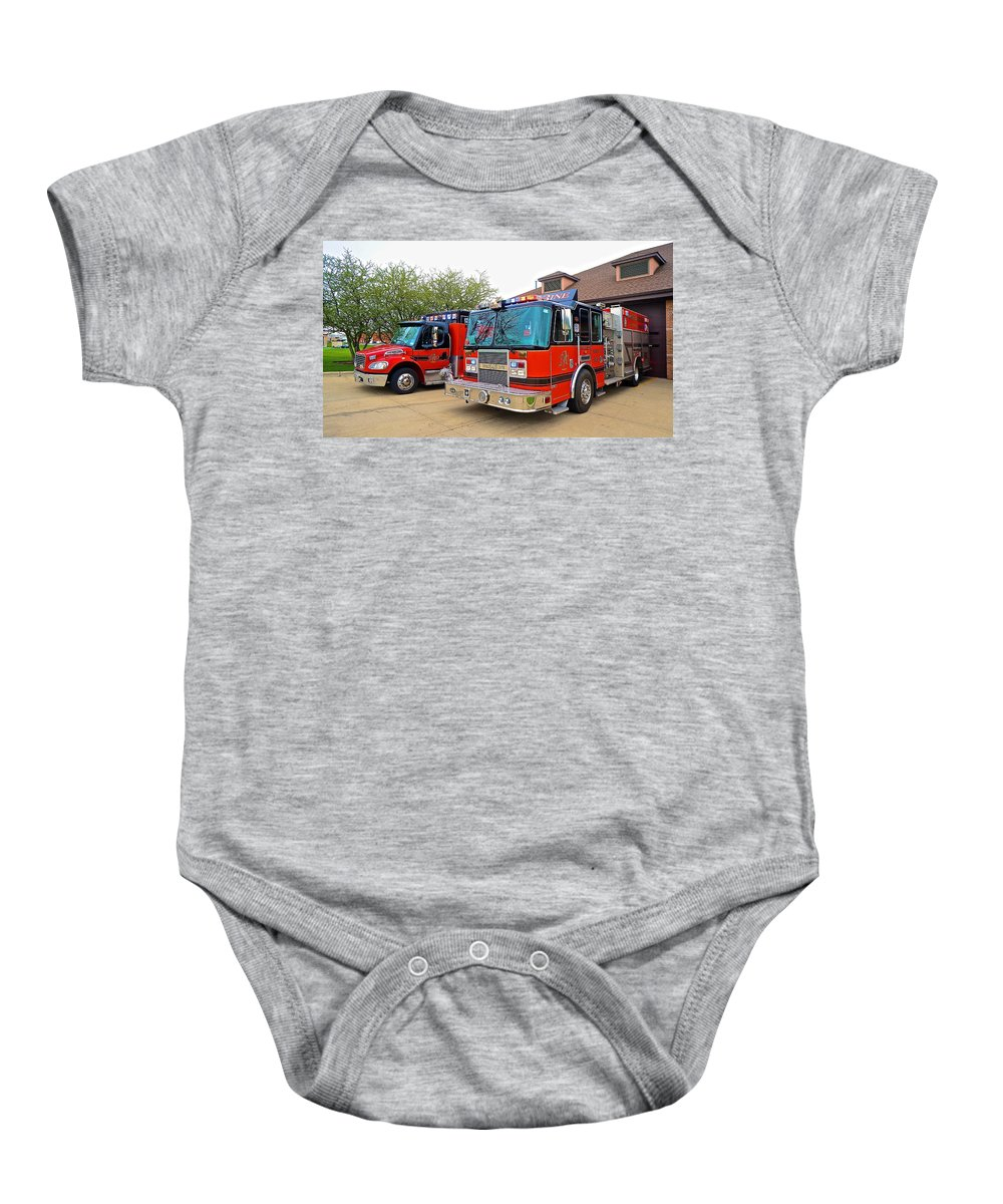 Fire Dept Baby Onesie featuring the photograph Duo At Three by Tim G Ross