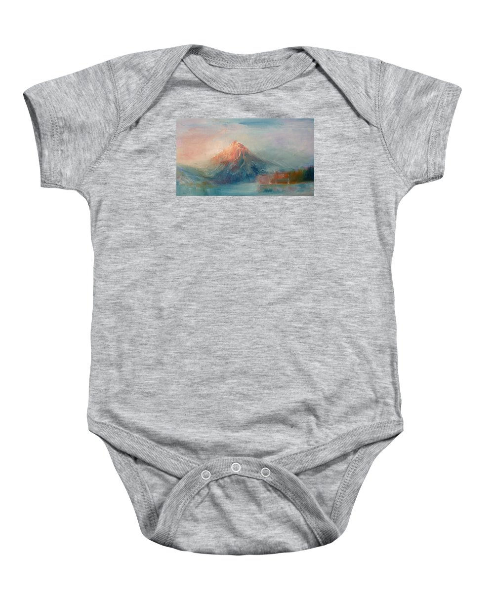 Landscape Baby Onesie featuring the painting Dusk 04 by Pusita Gibbs