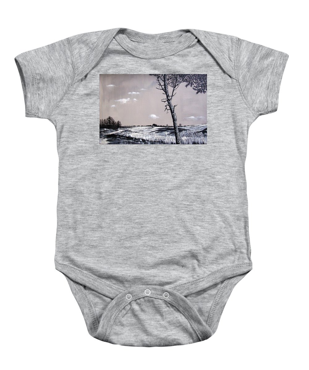 Duotone Baby Onesie featuring the painting Dutch Heathland by Arie Van der Wijst