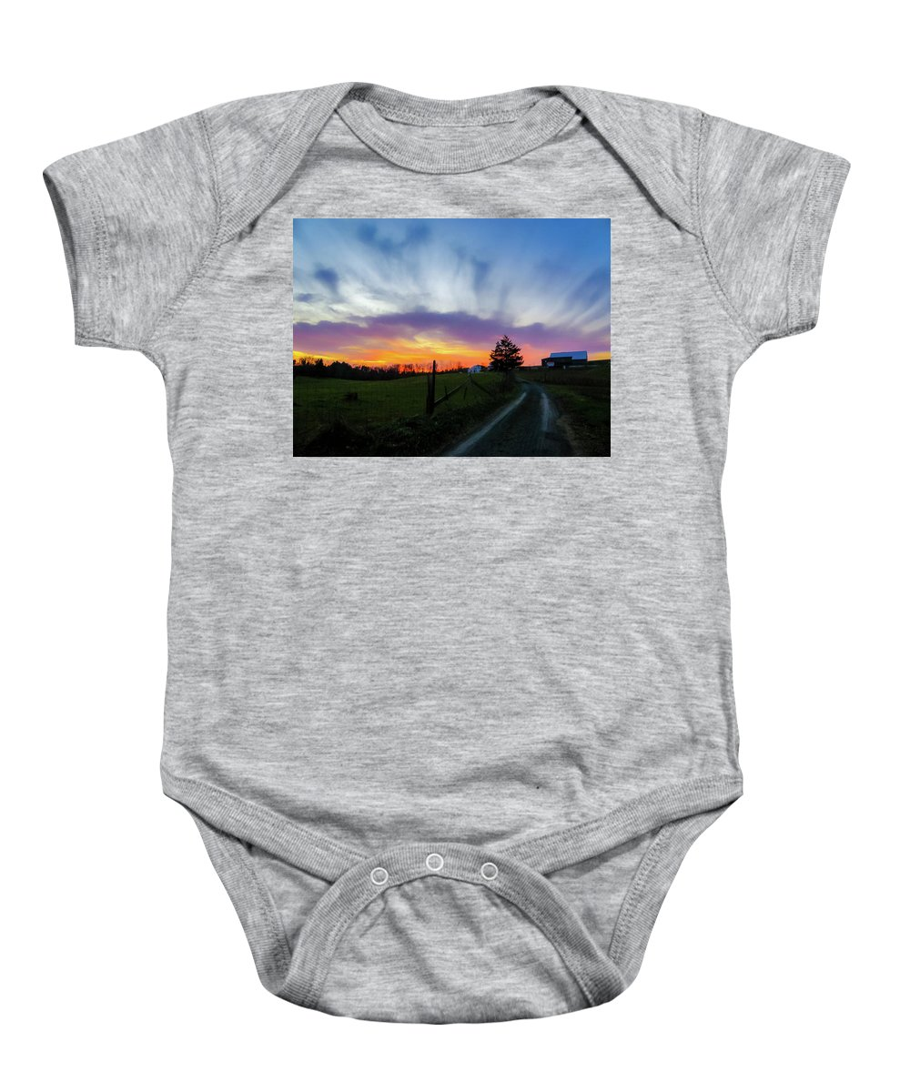 Beautiful Sky Baby Onesie featuring the photograph Dutch Lane In Evening Sky by Amy Bishop