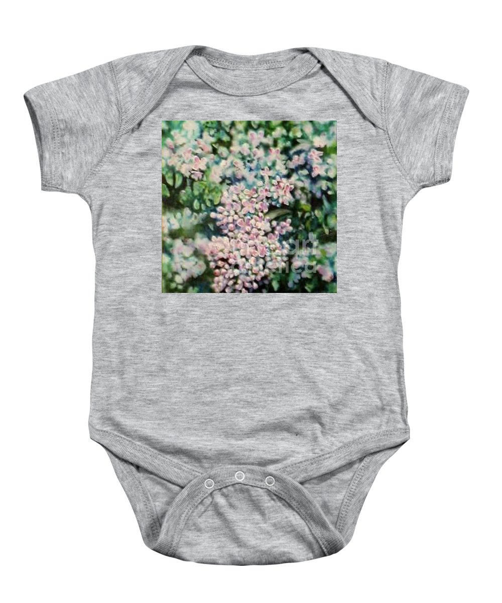 Lilacs Baby Onesie featuring the painting Dwarf Korean Lilac by Karen Sloan