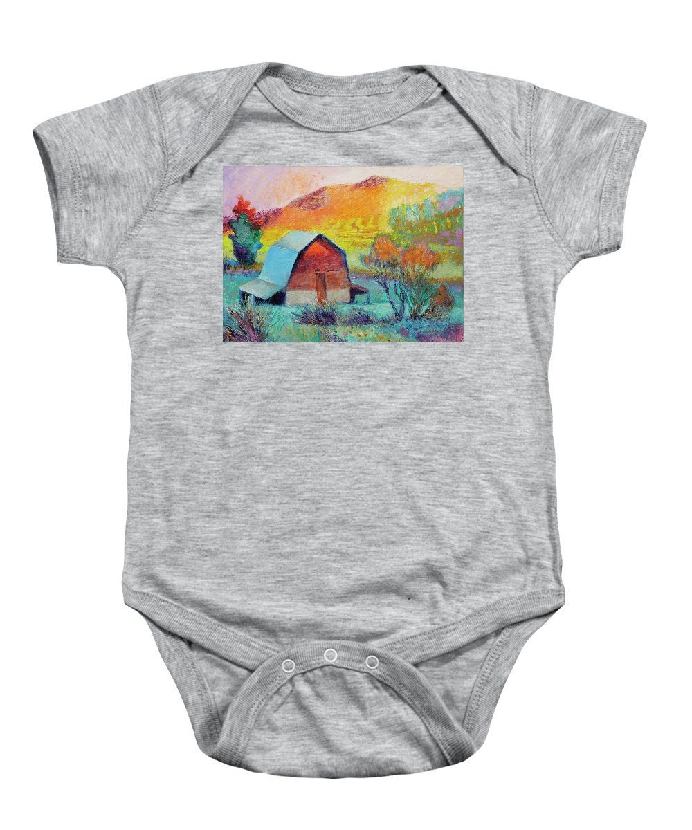 Landscape Baby Onesie featuring the painting Dyeleaf Mountain Barn Sunrise by Lisa Blackshear