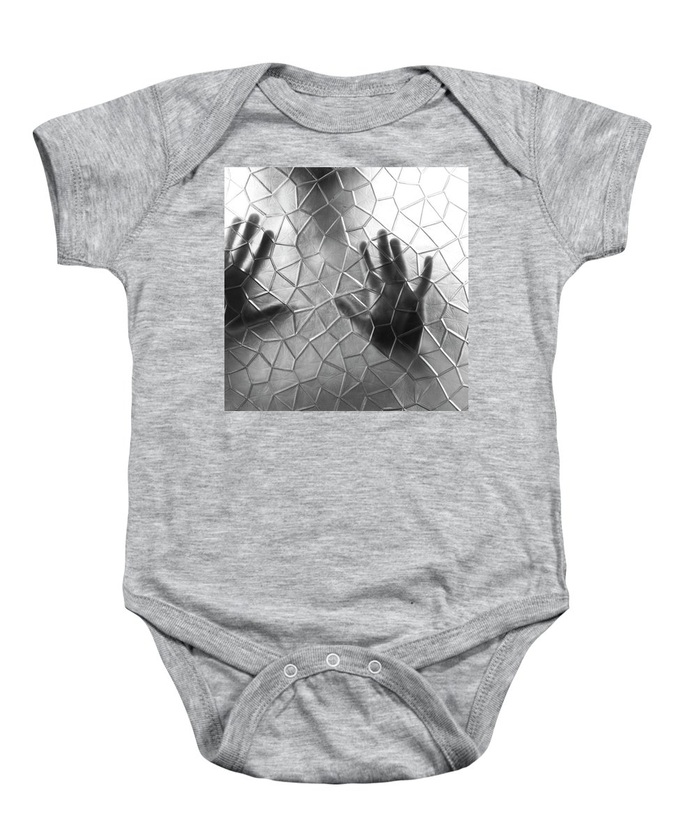 Black And White Baby Onesie featuring the photograph E X E C U T I O N by Jorn Van Hezik