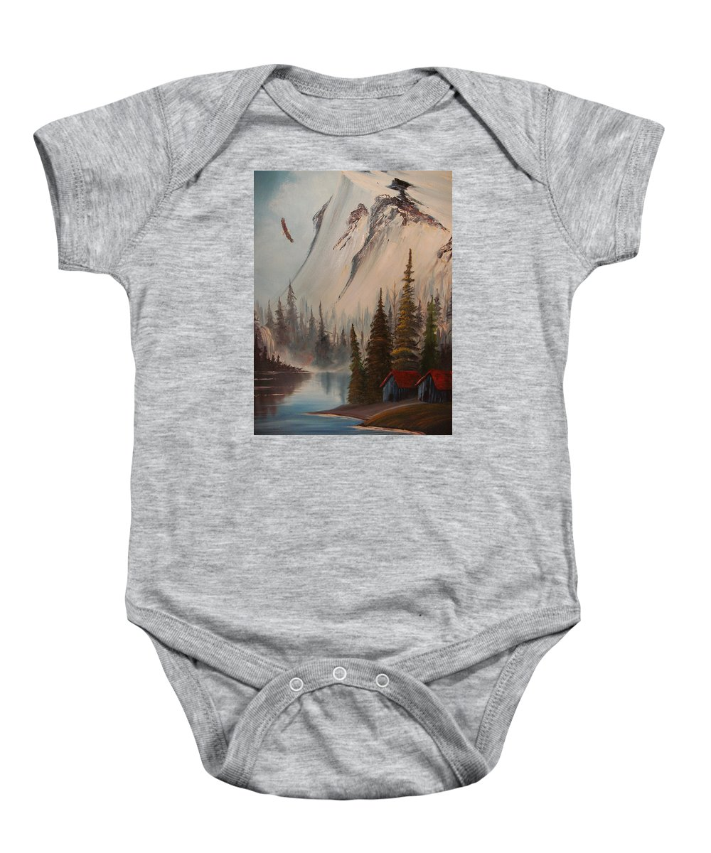 Mountains Landscape With Eagle And Stream Baby Onesie featuring the painting Eagle Mountain by Scott Easom