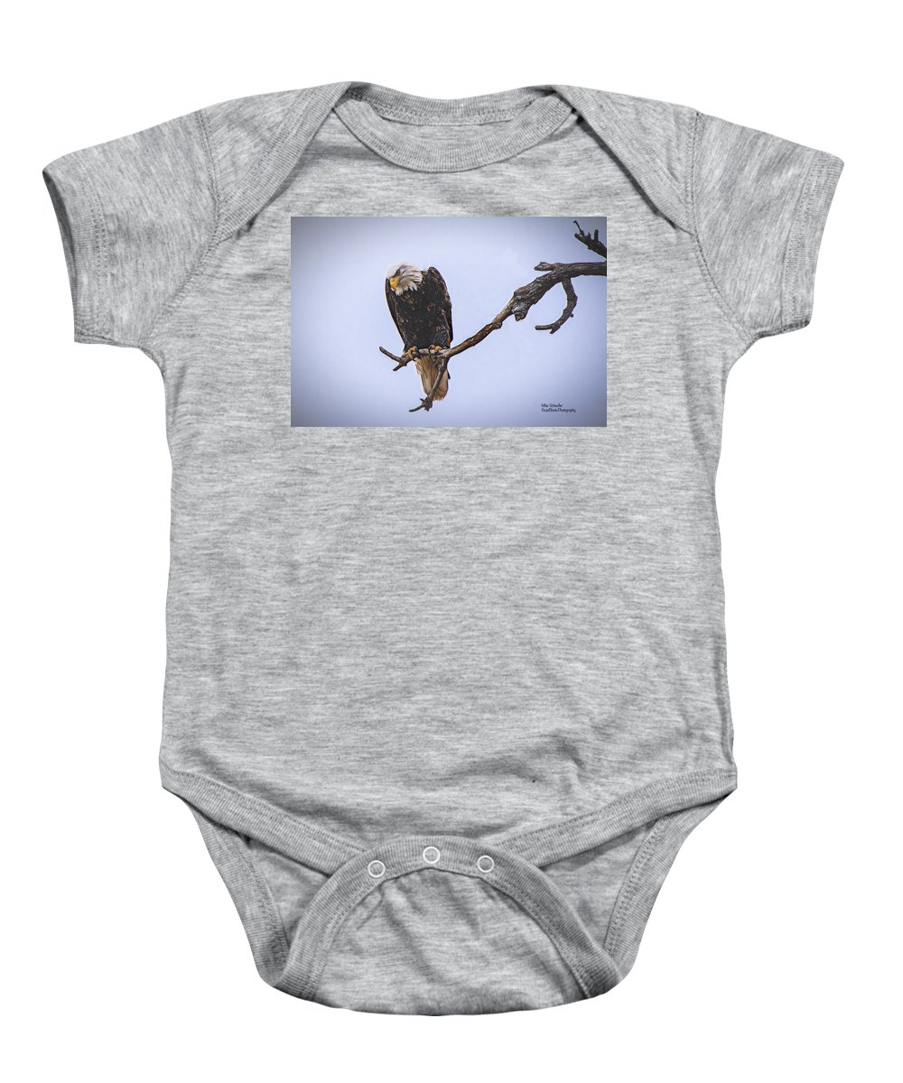 Eagle Baby Onesie featuring the digital art Eagle Searching by Mike Scheufler