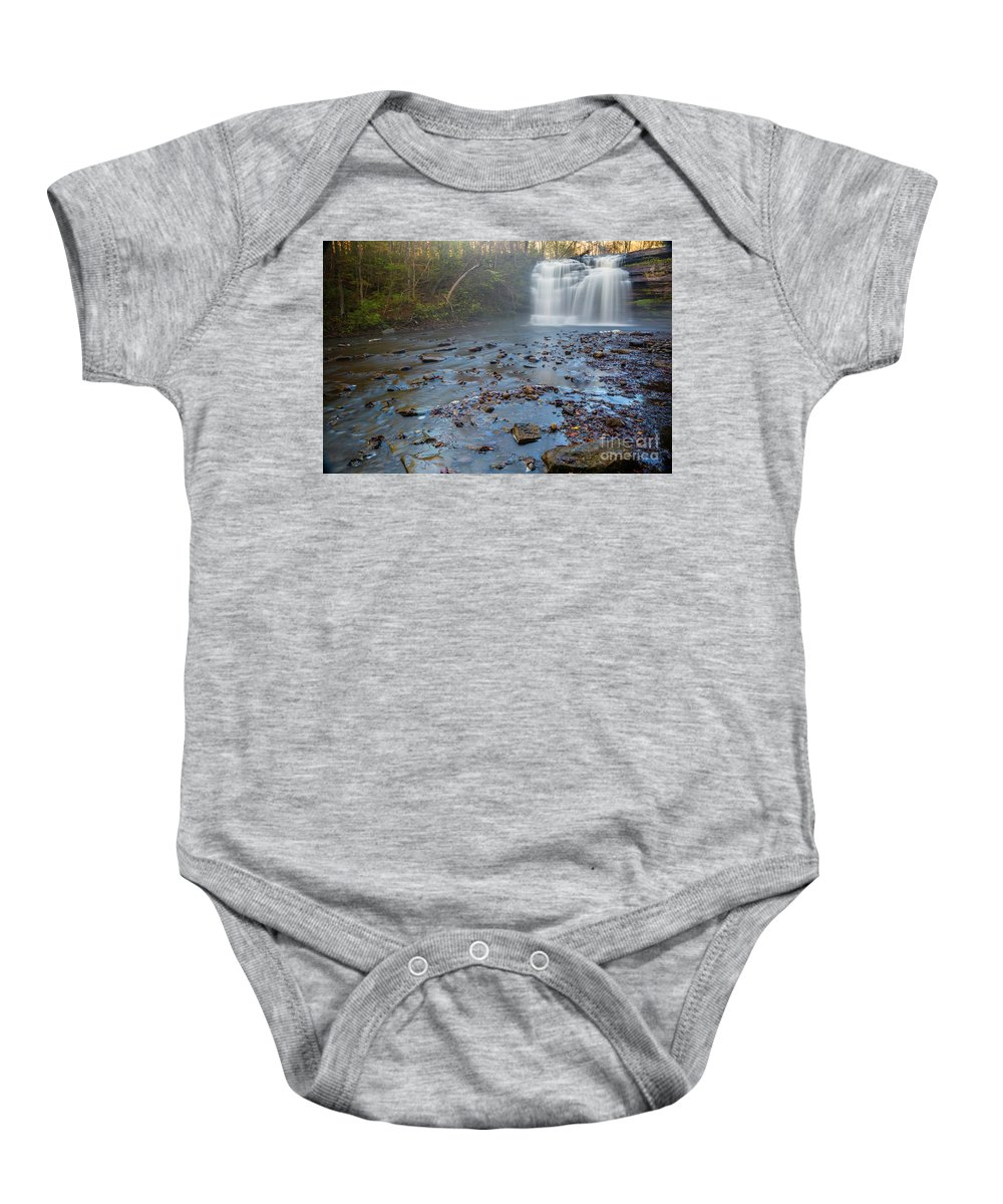 New York Baby Onesie featuring the photograph Early Autumn At Pixley Falls by Karen Jorstad