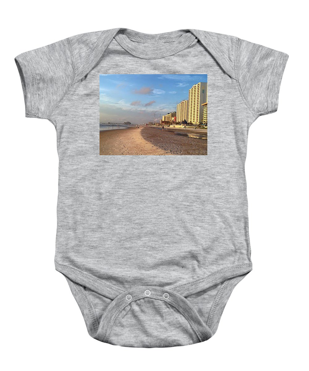 Daytona Baby Onesie featuring the photograph Early Morning On Daytona Beach by Thomas Zapor