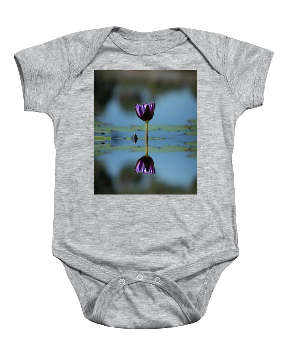 Early Morning Reflection Baby Onesie featuring the photograph Early Morning Reflection by Don Columbus