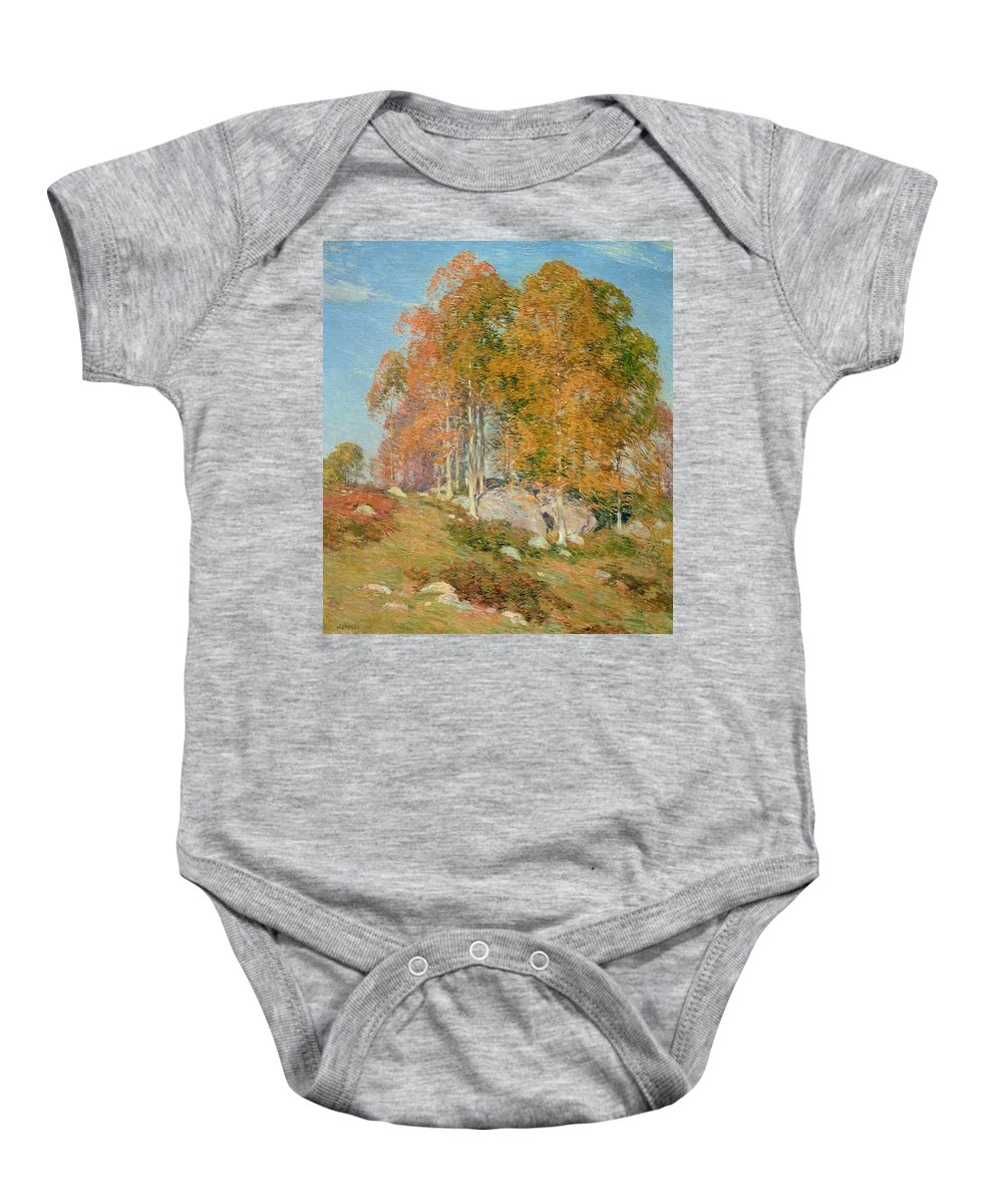 Early October Baby Onesie featuring the painting Early October by Willard Leroy Metcalf