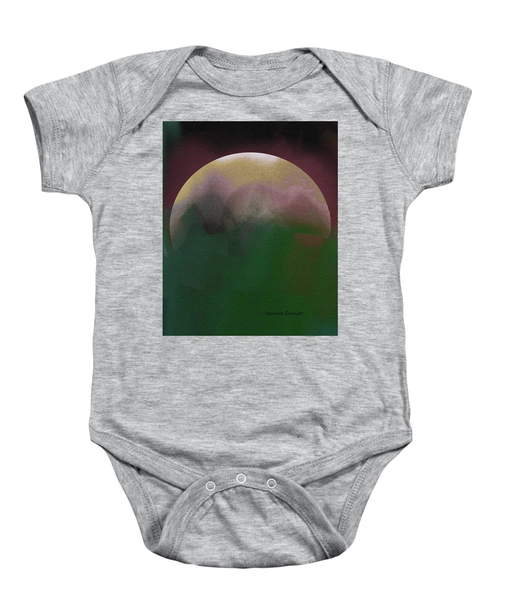 Abstract Baby Onesie featuring the painting Earth And Moon by Lenore Senior