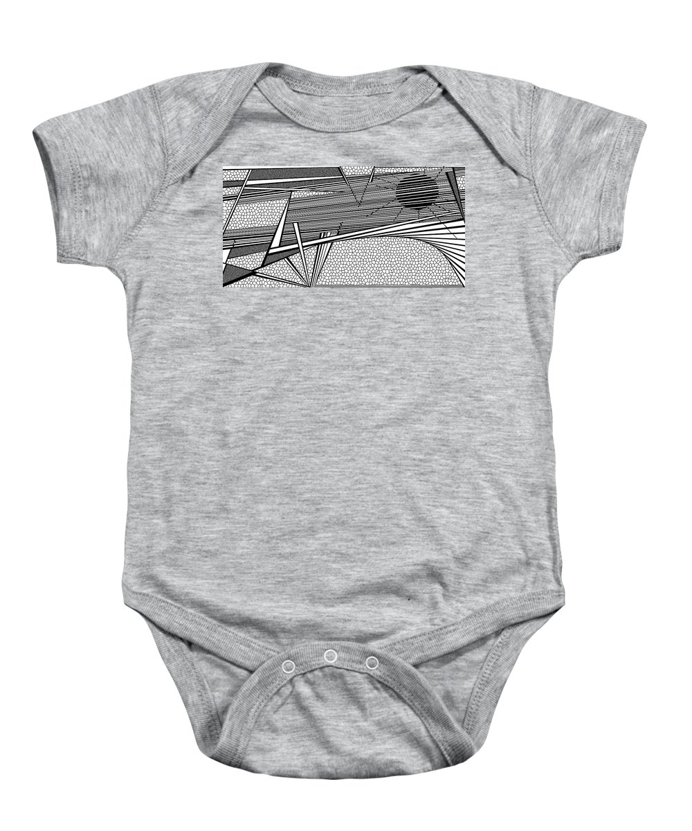 Dynamic Black And White Baby Onesie featuring the painting Earth Screams by Douglas Christian Larsen