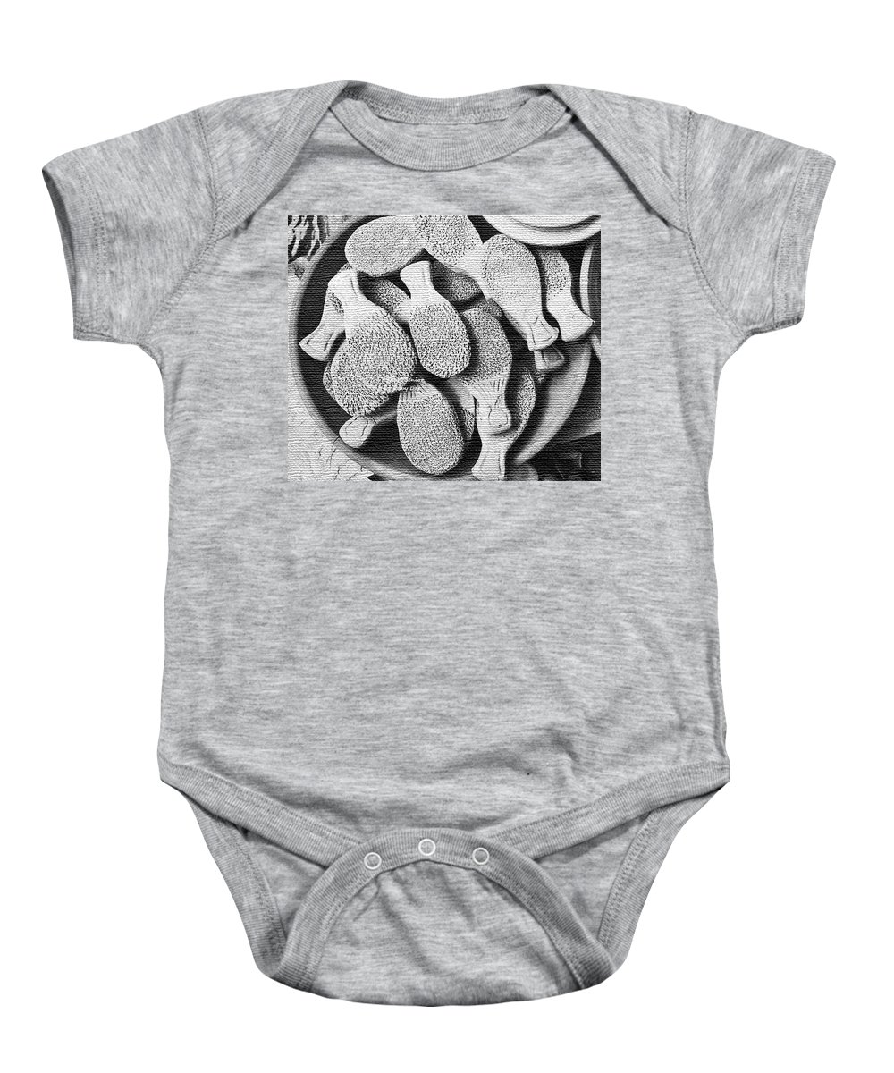 Abstract Baby Onesie featuring the photograph Earthenware Patterns by Lenore Senior