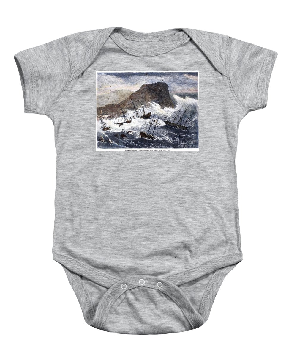 1868 Baby Onesie featuring the photograph Earthquake And Tidal Wave by Granger