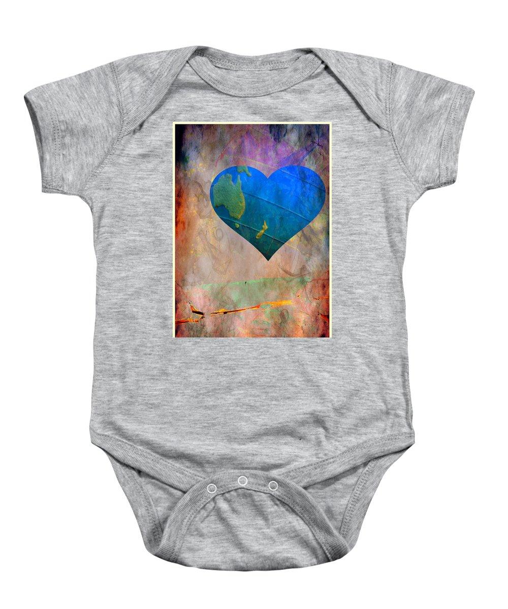 Heart Baby Onesie featuring the digital art Earthy Heart by Gina Geldbach-Hall