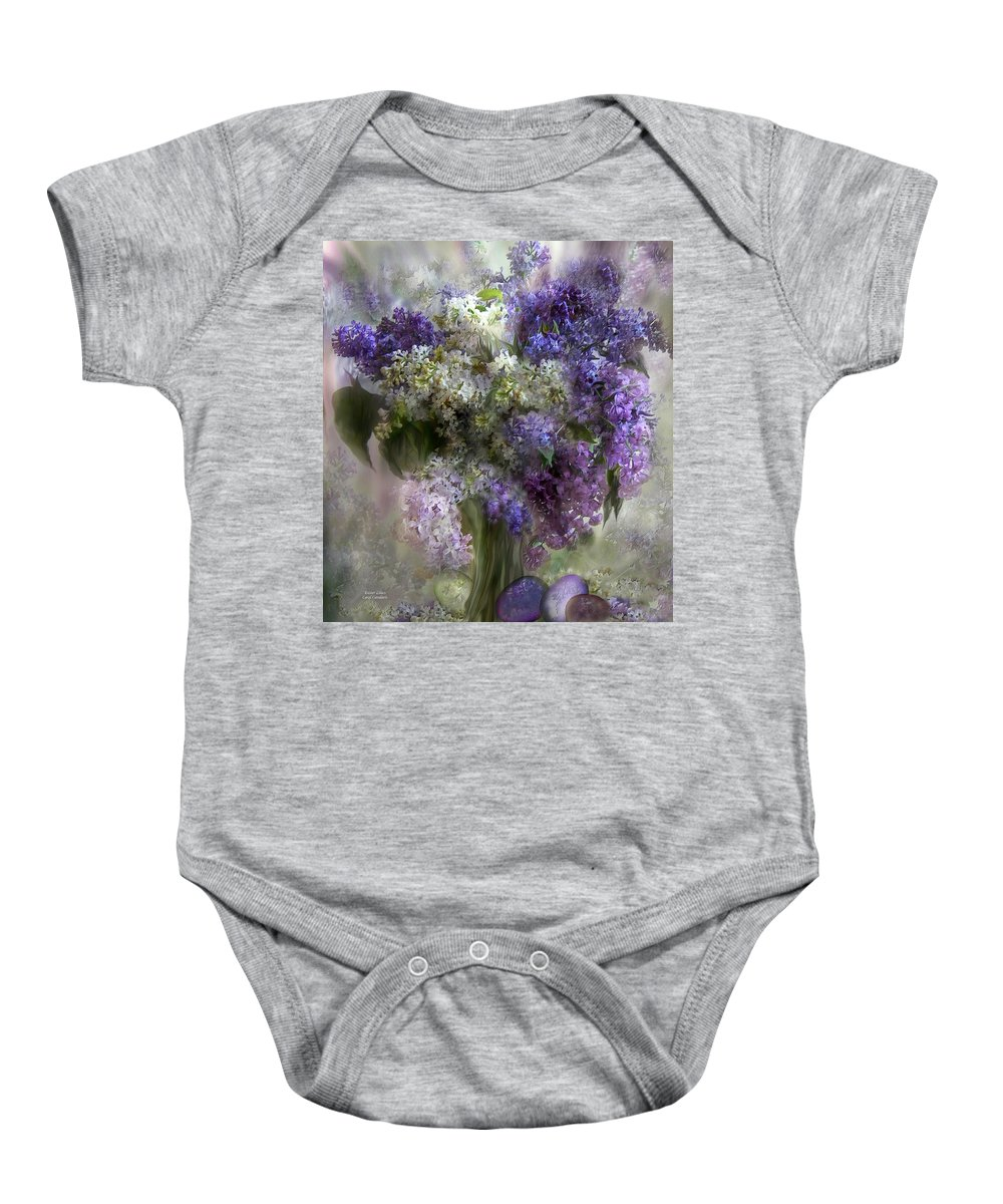 Lilacs Baby Onesie featuring the mixed media Easter Lilacs by Carol Cavalaris