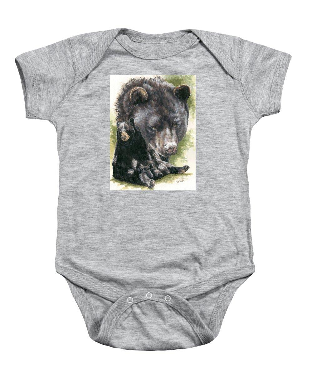 Black Bear Baby Onesie featuring the mixed media Ebony by Barbara Keith