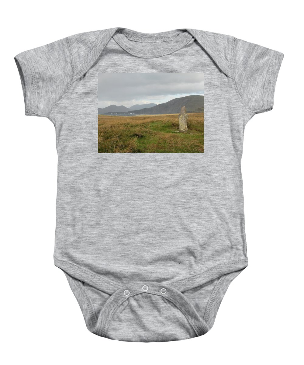 Medievil Baby Onesie featuring the photograph Edge Of The World by Kelly Mezzapelle