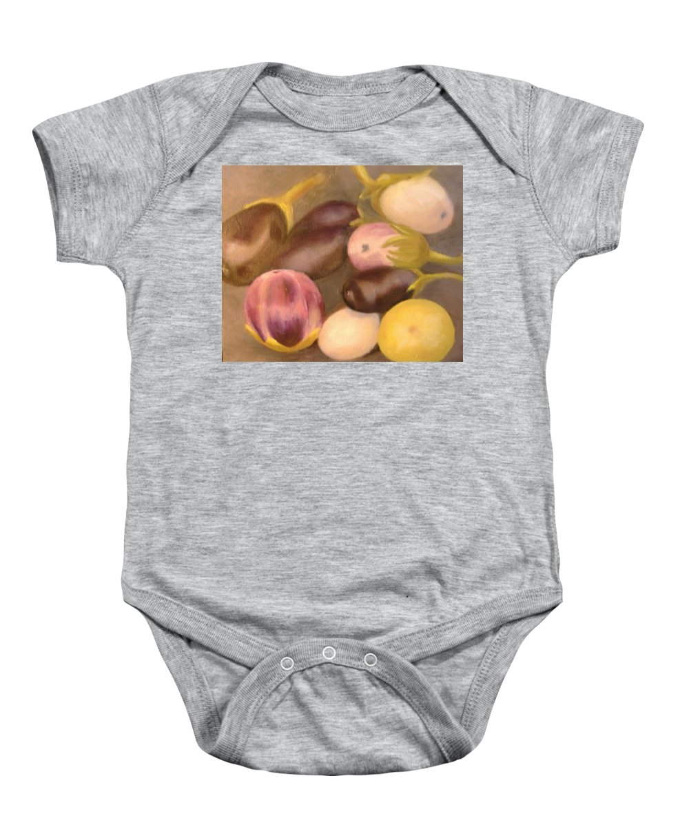 Vegestables Baby Onesie featuring the painting Eggplant by Pat Snook