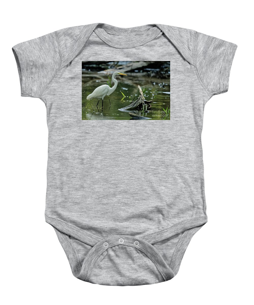 Great White Heron Baby Onesie featuring the photograph Egret In The Swamp by Natural Focal Point Photography