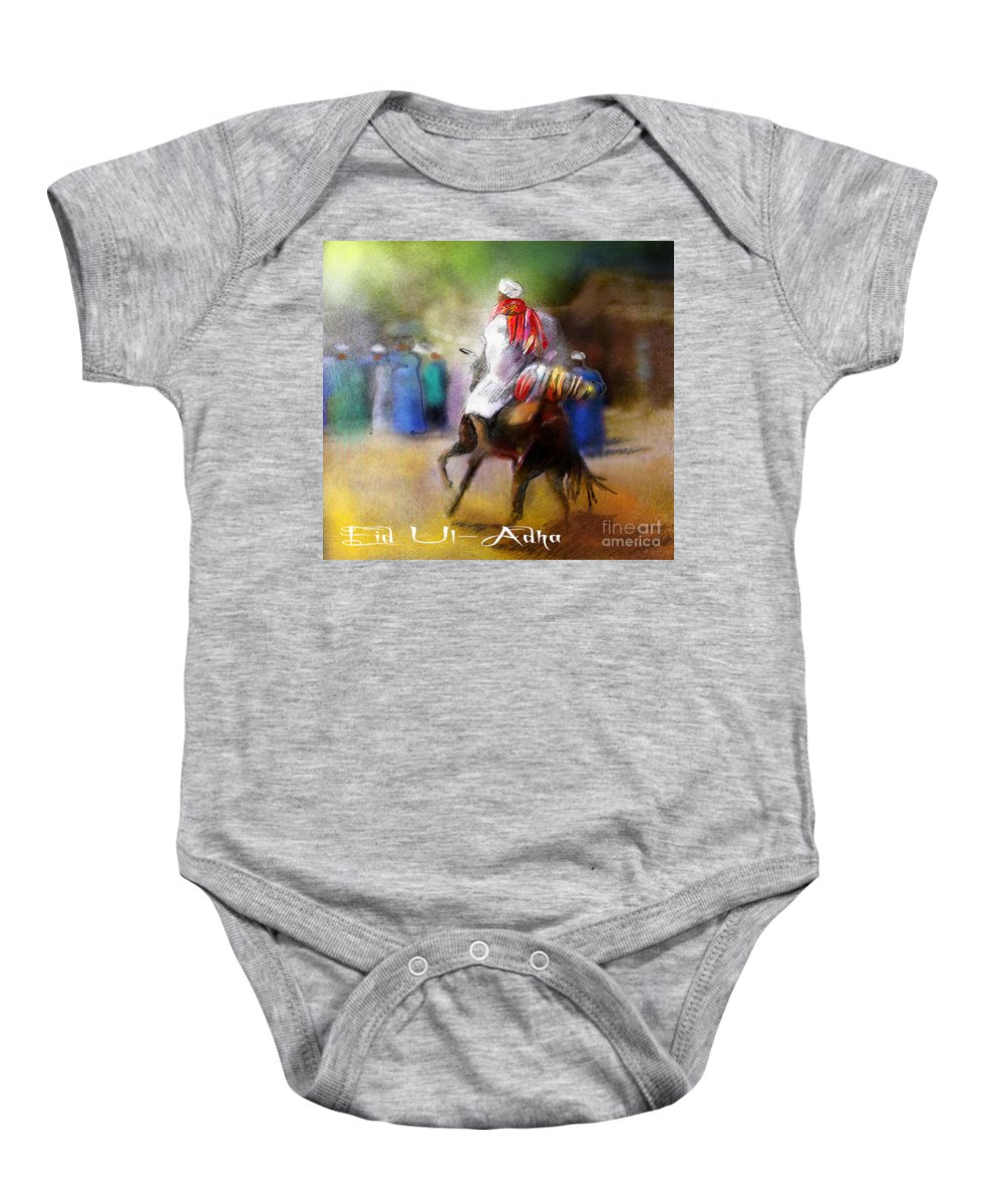 Eid Ul Adha Sheep Painting Festival Of Sacrifice Horses Knight Baby Onesie featuring the painting Eid Ul Adha Festivities by Miki De Goodaboom