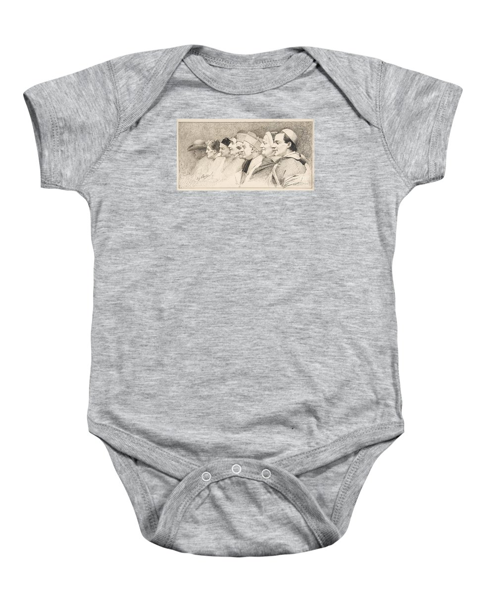 Jean-georges Vibert Baby Onesie featuring the painting Eight Heads Of Ecclesiastics by Celestial Images